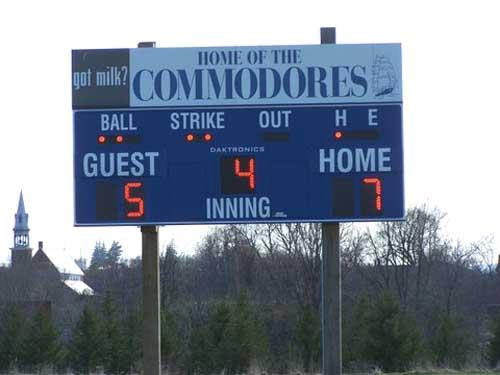 baseball scoreboard commodores