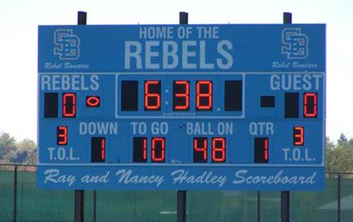 football scoreboard south burlington rebels