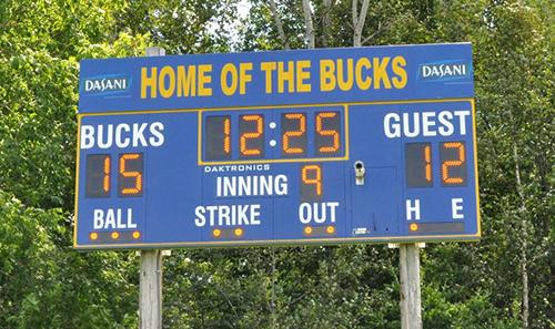 multi-sport scoreboard blue mountain bucks